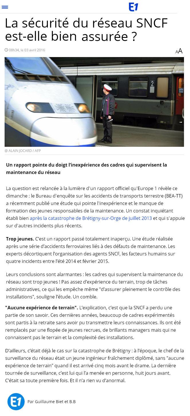 Reportage europe1 etat du reseau